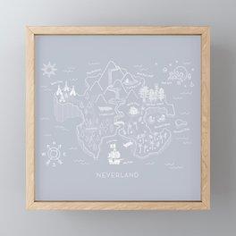 Neverland Map - Gray Framed Mini Art Print