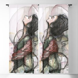 Beauty Illustration Beautiful Woman Feminine Portrait Blackout Curtain