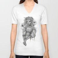 raven V-neck T-shirts featuring Raven by Zan Von Zed