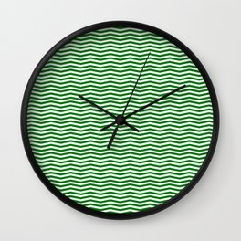 Green and White Christmas Wavy Chevron Stripes Wall Clock