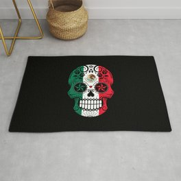 Sugar Skull with Roses and Flag of Mexico Rug