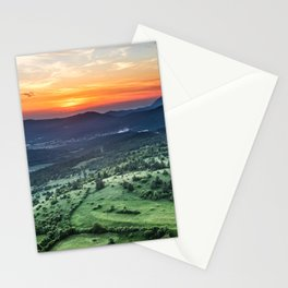 Beautiful sunset behind green fields Stationery Cards