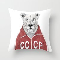 soviet Throw Pillows featuring Soviet lion by Balazs Solti