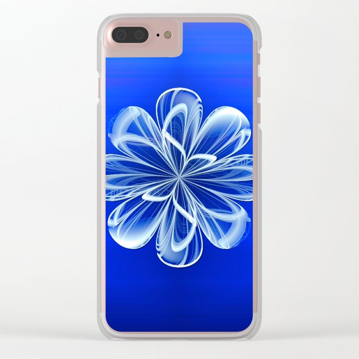White Bloom on Blue Clear iPhone Case