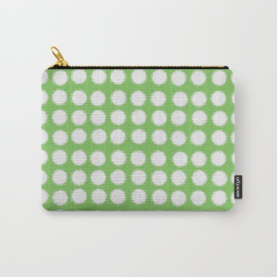 milk glass polka dots in light green Carry-All Pouch