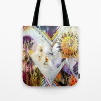 "flora bowley Tote Bags featuring ""Burn Bright"" Original Painting by Flora Bowley by Flora Bowley"