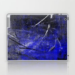 In The Dead Of Night - Textured Abstract In Blue, Black and White Laptop & iPad Skin