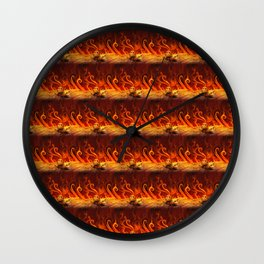 Flame Blazing Skulls Wall Clock