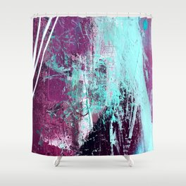 01012: a vibrant abstract piece in teal and ultraviolet Shower Curtain