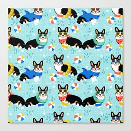 Corgi tri colored corgis pool party dog breed cute custom pet portrait by pet friendly Canvas Print