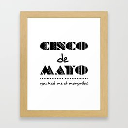 Bold Cinco de Mayo Mexican Holiday Typography Framed Art Print