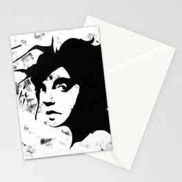 The rebel girl in black and marble Stationery Cards