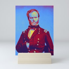 Gen. William T. Sherman - Civil War Neon art by Ahmet Asar Mini Art Print