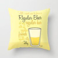 how i met your mother Throw Pillows featuring Tv drink quotes [how i met your mother] by Fabio Castro