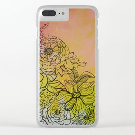 Peachy Floral Clear iPhone Case
