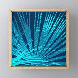 Tropical Blue Fan Palm Leaves Abstract Design Framed Mini Art Print