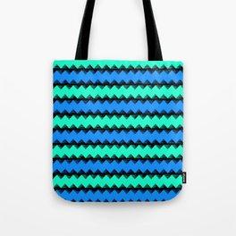 Aqua and Blue Sawtooth Pattern Tote Bag