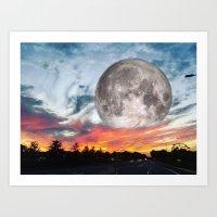 Supermoon Sunset Florida Art Print