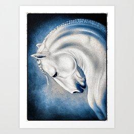 White Lusitano Blue Comic Style Art Print