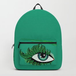Spring eye with green leaves Backpack