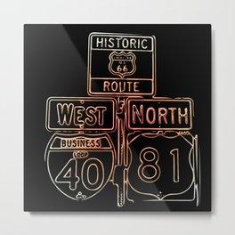 Neon US Route 66 Metal Print