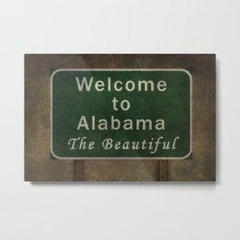 Welcome to Alabama the roadside sign illustration Metal Print
