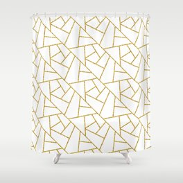 Gold and White Abstract Geometric Glitter Pattern Shower Curtain
