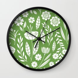 Blooming Field - green Wall Clock