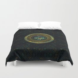 Marble and Abalone Endless Knot  in Mandala Decorative Shape Duvet Cover