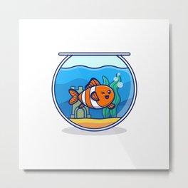 Clown Fish Swimming Aquarium Cartoon Icon Illustration Animal Fish Icon Concept Isolated Premium Fla Metal Print