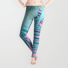 Palm Leaves Pink Blue Vibes #1 #tropical #decor #art #society6 Leggings