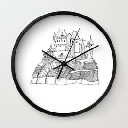Castle on the Cliff . Illustration Wall Clock