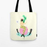 mermaid Tote Bags featuring mermaid by Alba Blázquez
