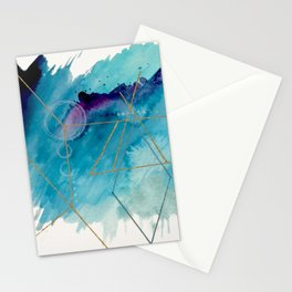 Galaxy Series 1 - a blue and gold abstract mixed media set Stationery Cards