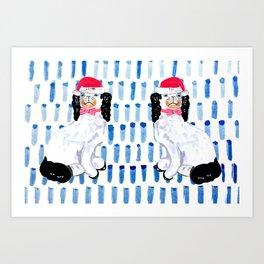 SANTA STAFFORDSHIRE DOGS Art Print