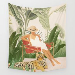 The Lady and the Tiger II Wall Tapestry