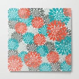 Trending Decorative Orange Teal Metal Print