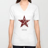 winter soldier V-neck T-shirts featuring Codename Winter Soldier by Bonnie Detwiller