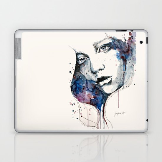 Window, watercolor & ink painting Laptop & iPad Skin