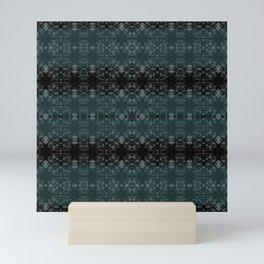 Cyprus Green & Velvety Black Abstract Scratch Design on Light Grey by artestreestudio Mini Art Print