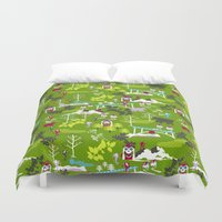 hiking Duvet Covers featuring Hiking by misslin