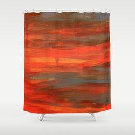 Brushed orange-red & grey Shower Curtain