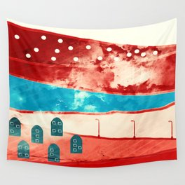 Red landscape Wall Tapestry