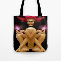 tinker bell Tote Bags featuring Tinker Fairy  by Rafael Salazar
