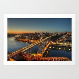 Porto twylight bridge Art Print