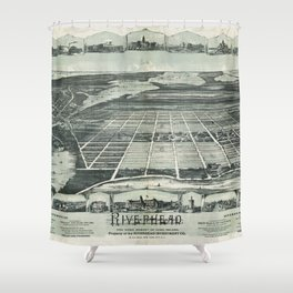 Aerial View of Riverhead, Long Island, New York (1890) Shower Curtain
