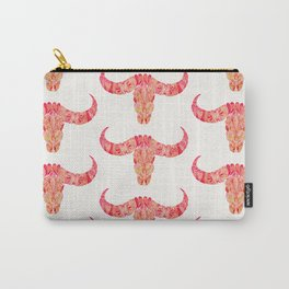 Water Buffalo Skull – Pink Ombré Carry-All Pouch