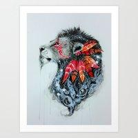 warrior Art Prints featuring Warrior by Jonna Lamminaho