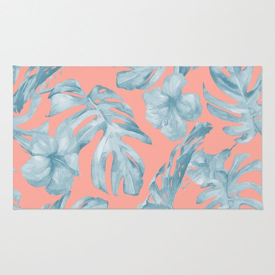 Island Life Pale Teal Blue On Coral Pink Rug By Simple
