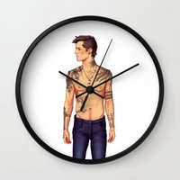tattoos Wall Clocks featuring Tattoos by brightfallenstars